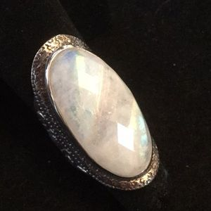 Amazing, Rare Faceted Rainbow Moonstone Ring